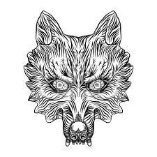 Fototapeta Rozzlobená Vlčí Hlava Wolf Blackwork Tetování Flash Koncept