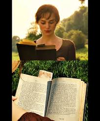 at the beginning of the movie elizabeth is shown reading a novel is shown reading a novel titled ldquofirst impressionsrdquo this was jane austenacircacutes original title of her novel before she altered it to ldquopride and prejudicerdquo
