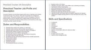 Jd Templates Preschool Teacher Job Description Template Assistant