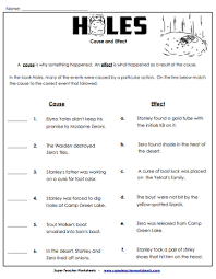 holes chapter book worksheets