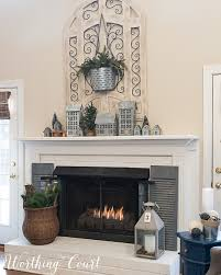 painted brick fireplace winter decorations winter mantel