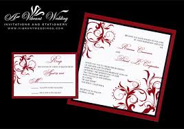 red and black wedding invitation with spanish floral scroll design Spanish Wedding Invitations Online 7x7\