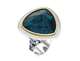 Золотое <b>кольцо с топазом</b> лондон блю, бриллиантами и ...