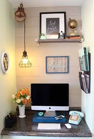mini home office. Plus Some Pastel Accents (we Love The Retro Telephone!), This Mini Home Office Was Turned Into A Charming, Rustic Nook, Primed For Productivity.