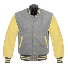 men s varsity real leather wool letterman jacket grey w yellow leather sleeves