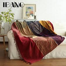 ibano bohemian chenille plaids blanket sofa decorative throws on sofa bed plane 150x190cm cobertor blanket with tassel purple heated throw purple chenille