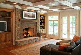 brick veneer fireplace room