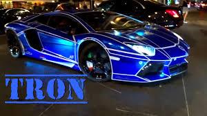 TRON Look on Lamborghini Aventador Blue Chrome ! - YouTube