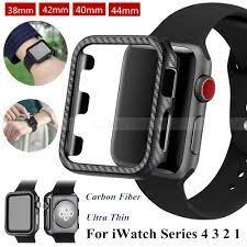 Vỏ bảo vệ bằng sợi cacbon cho đồng hồ thông minh Apple Watch Series 4 3 2 1  38mm 40mm 42mm 44mm   Phụ Kiện Thiết Bị Đeo Thông Minh