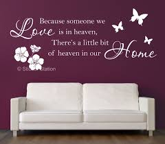because someone we love is in heaven inspirational wall art sticker sticker station