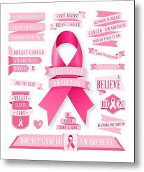 Pink Banners A Set Of Pink Breast Cancer Awareness Banners And Ribbons Isolated On White Metal Print