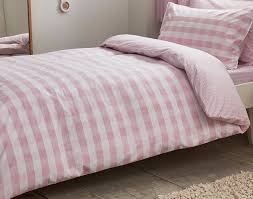 bianca cottonsoft pink gingham single duvet cover set