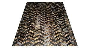 metallic chevron cowhide rug black gold on herringbone rugs leather corp and white cow skin