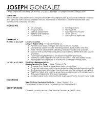 Automotive Technician Resume Awesome Field Service Technician Resume