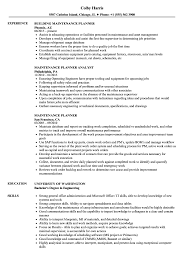 Maintenance Planner Resume Samples Velvet Jobs