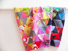 Triangle Quiltalong – Piecing | My Poppet Makes & Triangle patchwork quilt top rainbow colours Adamdwight.com