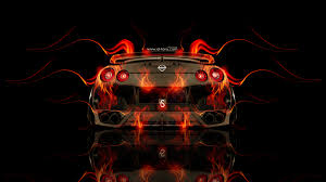 nissan gtr r35 back fire abstract car