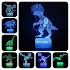 Dinosaur 7 Colors Changing Table Action Figures Lamp Usb Jurassic Led Desk Light Tyrannosaurus Rex Model Toys Christmas Gift