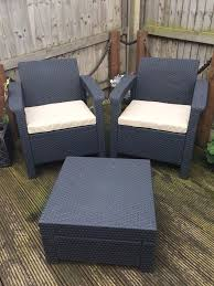 keter corfu 2 seater balcony set plastic rattan garden furniture