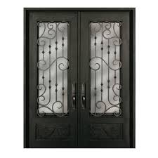painted double front door. Escon Right-Hand Inswing Bronze Painted Iron Double Entry Door With Insulating Core (Common Front