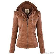 leather jacket fashion fall winter faux leather detachable fake two piece hood zipper jackets coat