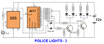 30 led projects police lights these three circuits flash the left leds 3 times then the right leds 3 times then repeats the only difference is the choice of chips
