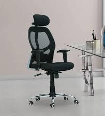 chair with headrest. swivel high back ergonomic chair with headrest in black colour by furniease