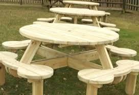 kids round picnic table impressive woodwork round wooden picnic table plans plans throughout round wood