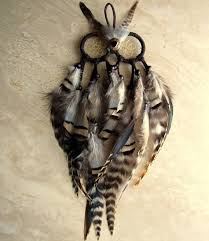 Dream Catcher With Owl Feather Owl Dream Catcher Brown Black and White Striped Feather 1