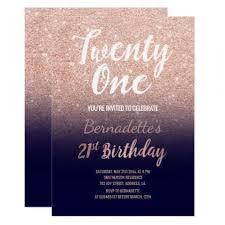 rose gold glitter navy blue ombre 21st birthday card birthday invitations