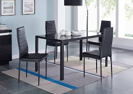 compact dining table set. Amazon.com - IDS 5 Piece Compact Dining Table Room Set For 4 With Glass Top And Soft Faux Leather Chairs Dinette Rectangular Black \u0026 Chair Sets S
