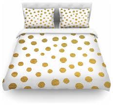 nika martinez golden dots white yellow duvet cover cotton