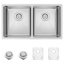 water creation undermount small radius stainless steel 31 in 0 hole double bowl kitchen