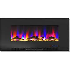 wall mount electric fireplace in black with multi color flames and