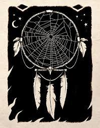 Spider Web Dream Catcher Spider Web Dreamcatcher Black And White Drawing Art Print Artwork 2