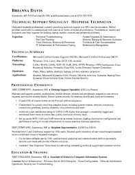 Technical Proficiency Resumes Desktop Support Technician Resume Examples Resumes Sample Help Desk
