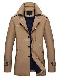 brown trench coat men coat turndown collar long sleeve slim fit spring jacket with pocket