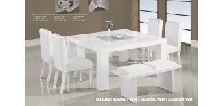 white modern dining room sets. G020DT-WH Modern White Wood Square Table 7 Piece Dining Set Room Sets