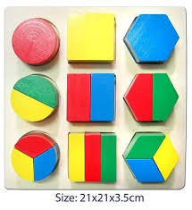 Wooden Math Games FUN FACTORY Wooden Puzzle Blocks Fractions Teaching Aid 84