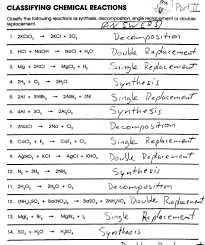 attractive chemistry classifying matter worksheet answers word equations page 59 classifying chem rxn ans word equations