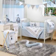 Cool Blue Cot Bedding Set Promotion 6PCS Baby Crib Sets Boy Bed