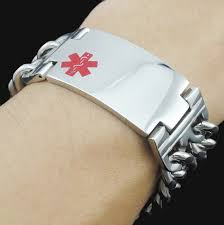 atgo clic jewelry men al alert bracelet bangle snless steel double link chain red alert id