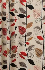 autumn leaves red berry curtain fabric