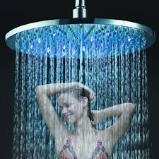 round rain shower head with lights