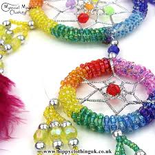 What Do The Beads In A Dream Catcher Mean Beauteous Small Round Rainbow Beaded Hippy Dreamcatcher With Bright Feathers