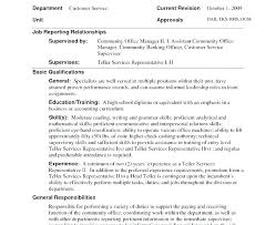 Bank Teller Resume Description Resumes And Duties Good Summary For