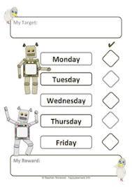 5 Day Reward Chart Robot Reward Systems