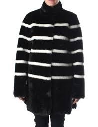 stripe on through women 039 s fur coat b5l06 black white