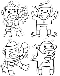 Free Sock Monkey Coloring Pages 92 With Additional Line Drawings ...