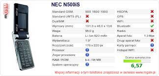 NEC N500iS Dane techniczne telefonu ...